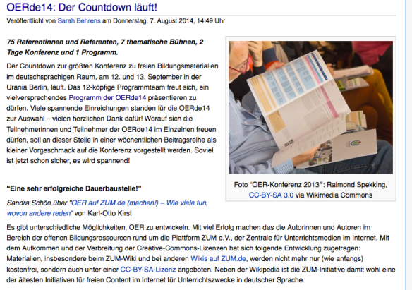 CC BY SA Wikimedia Foundation, Berlin  - http://blog.wikimedia.de/2014/08/07/oerde14-der-countdown-laeuft/