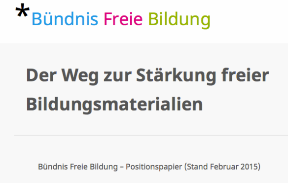 CC BY 3.0 Bündnis Freie Bildung - Positionspapier (Februar 2015)  https://creativecommons.org/licenses/by/3.0/de/