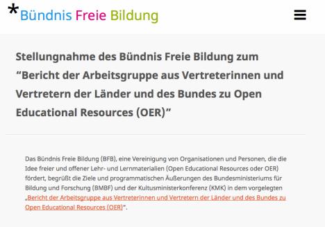 CC BY 3.0 Bündnis freie Bildung, http://buendnis-freie-bildung.de/stellungnahme-des-buendnis-freie-bildung-zum-bericht-der-arbeitsgruppe-aus-vertreterinnen-und-vertretern-der-laender-und-des-bundes-zu-open-educational-resources-oer/#, Lizenz: https://creativecommons.org/licenses/by/3.0/de/