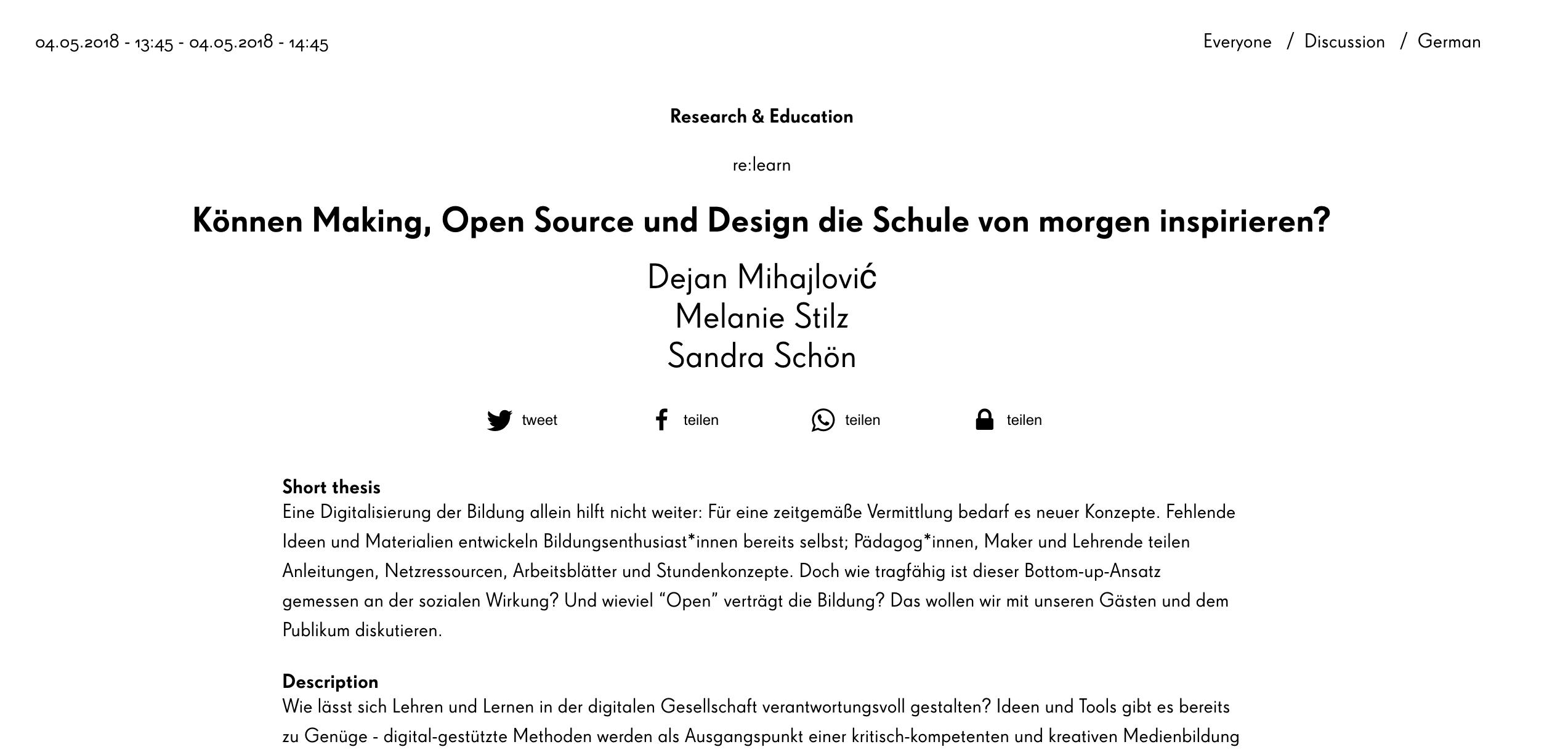 """Bin dabei! re:publica Panel zu """"Können Making, Open Source und ..."""